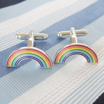 Pair of Chic Colorful Rainbow Shape Men's Alloy Cufflinks