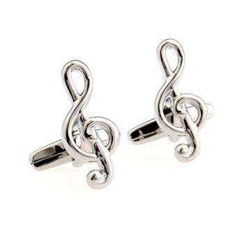 Pair of Chic Solid Color Musical Note Shape Men's Alloy Cufflinks