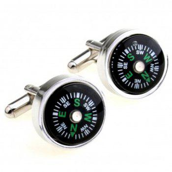 Pair of Chic Compass Design Round Shape Men's Alloy Cufflinks - BLACK BLACK