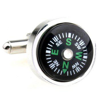 Pair of Chic Compass Design Round Shape Men's Alloy Cufflinks -  BLACK