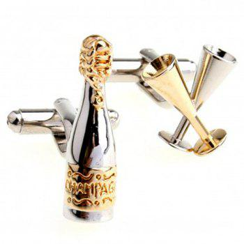Pair of Fashionable Bottle and Wine Glass Shape Cufflinks For Men