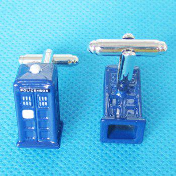 Pair of Fashionable Police Box Shape Cufflinks For Men - BLUE BLUE