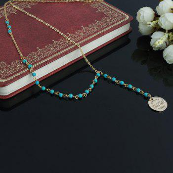 Faux Kallaite Beads Decorated Sweater Chain Necklace - COLORMIX