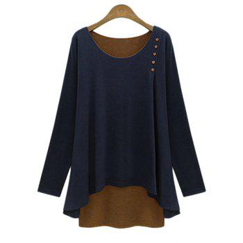 Stylish Faux Twinset Design Scoop Neck Long Sleeve T-Shirt For Women - CADETBLUE 2XL