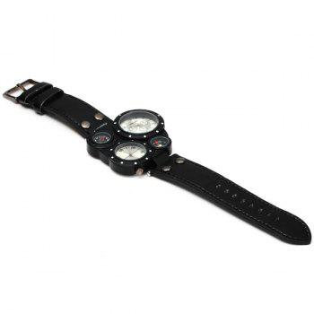 SHIWEIBAO J3104 Male 2 - movt Quartz Watch with Compass and Thermometer Leather Watchband - BLACK