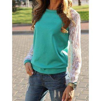 Sweet Lace Splicing Round Neck Long Sleeve Sweatshirt For Women