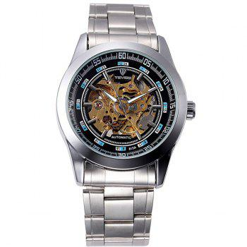 Tevise 815A Men Hollow-out Automatic Mechanical Watch Round Dial Stainless Steel Body