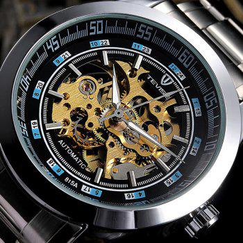 Tevise 815A Men Hollow-out Automatic Mechanical Watch Round Dial Stainless Steel Body - BLACK