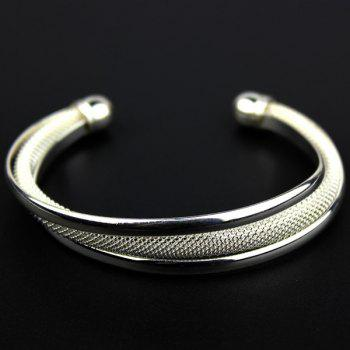 Fashionable 925 Sterling Silver Plated Dreamlike Mesh Arc Cuff Bangle Women Bracelet