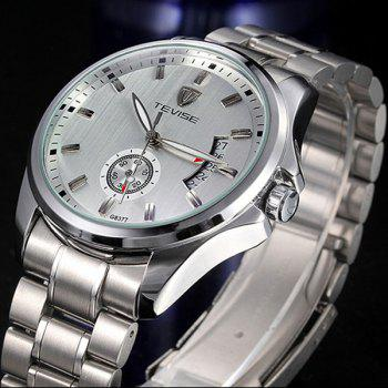 Tevise G8377 Indenpendent Second Hand Function Automatic Mechanical Watch Date Stainless Steel Strap Round Dial for Men