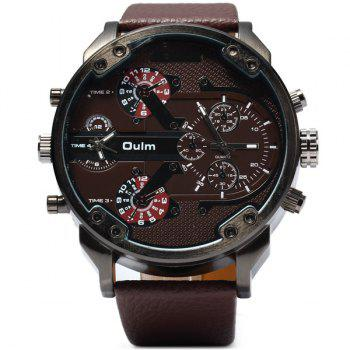 Oulm 3548 Male 2 - movt Quartz Watch with Big Dial Leather Watchband -  BROWN