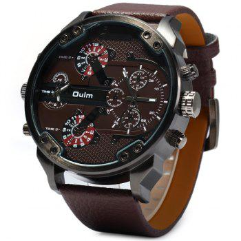 Oulm 3548 Male 2 - movt Quartz Watch with Big Dial Leather Watchband - BROWN BROWN