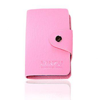 Trendy Solid Color and Button Design Card Case For Men - PINK PINK