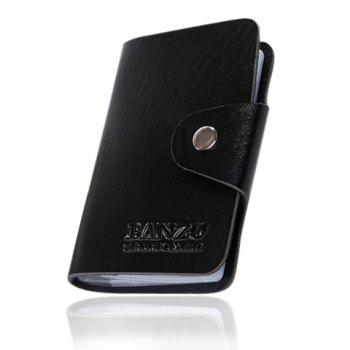 Trendy Solid Color and Button Design Card Case For Men - BLACK BLACK