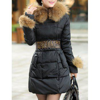 Stylish Women's Hooded Solid Color Black Coat