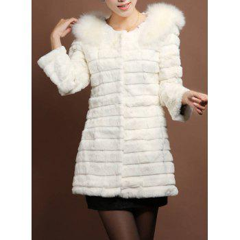 Stylish Long Sleeve Round Neck Solid Color Faux Fur Women's Coat