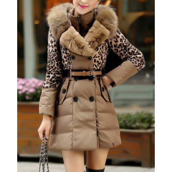 Stylish Hooded Long Sleeve Leopard Print Button Design Spliced Women's Coat
