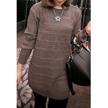 Sweet Cable Knit Scoop Neck Long Sleeve Sweater For Women