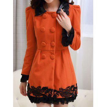 Stylish Turn-Down Neck Long Sleeve Lace Embellished Spliced Women's Coat