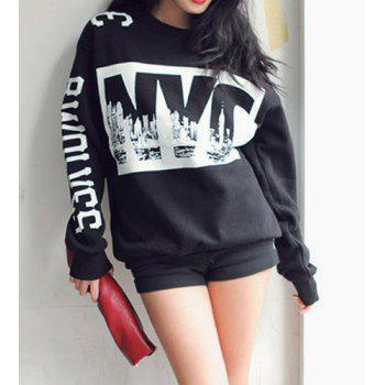 Fashionable Jewel Neck Letter Print Long Sleeve Sweatshirt For Women