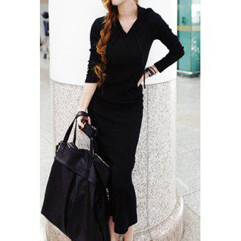 Scoop Neck Solid Color Casual Style Long Sleeve Dress For Women