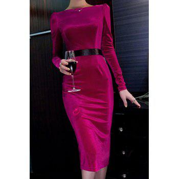 Ladylike Slash Collar Long Sleeve Bodycon Spliced Women's Dress
