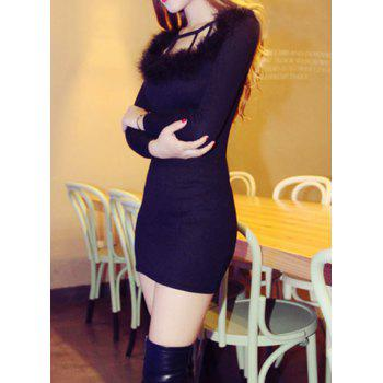 Sweet Solid Color Round Collar Faux Fur Splicing Long Sleeve Dress For Women - BLACK BLACK