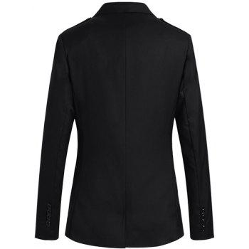 Slimming Fashion Shoulder Strap Embellished Lapel Multi-Pocket Long Sleeves Men's Blazer - BLACK 2XL
