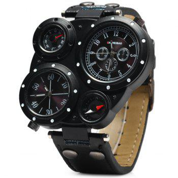 SHIWEIBAO J3104 Male 2 - movt Quartz Watch with Compass and Thermometer Leather Watchband - BLACK BLACK