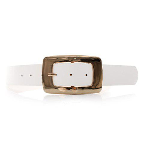 Chic Alloy Buckle and Solid Color Design Women's Wide Belt - WHITE