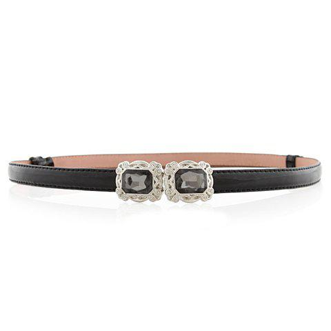 Chic Artificial Gem Decorated Women's Slender Belt