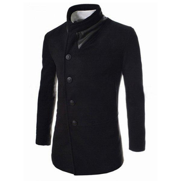 Trendy Slimming Stand Collar Long Sleeves Single-Breasted Design Solid Color Men's Long Woolen Overcoat - BLACK XL