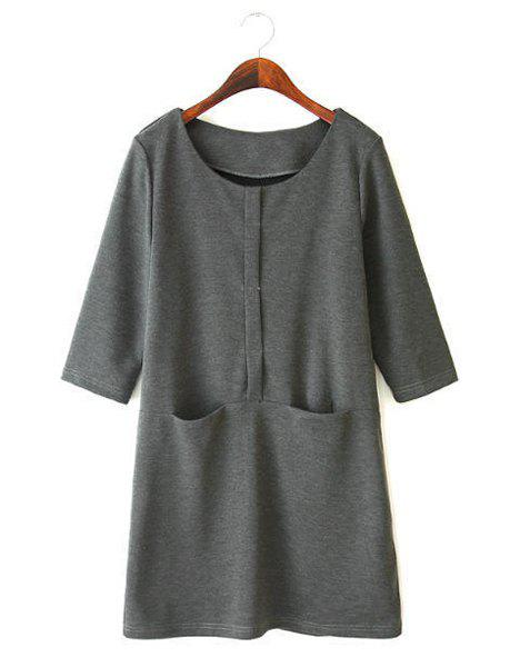 Casual Solid Color Round Collar Double Pockets 3/4 Sleeve Dress For Women - GRAY L