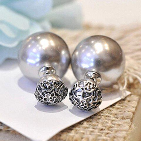 Pair of Attractive Faux Pearl Decorated Women's Earrings - GRAY
