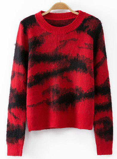 Round Neck Camouflage Fashionable Long Sleeve Sweater For Women - RED ONE SIZE(FIT SIZE XS TO M)
