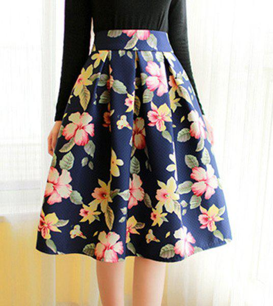 Vintage High-Waisted Ruffled Floral Print Women's Midi Skirt - RED L