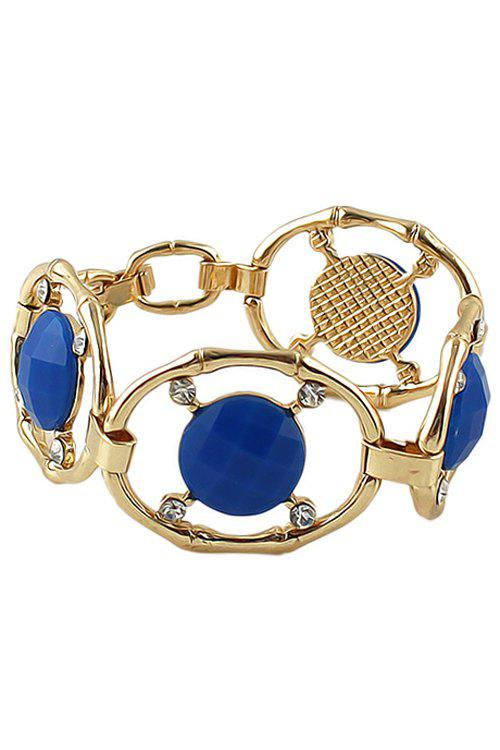 Faux Gemstone and Rhinestone Decorated Bracelet - BLUE