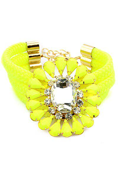 Flower Shape Faux Gem Decorated Bracelet - YELLOW