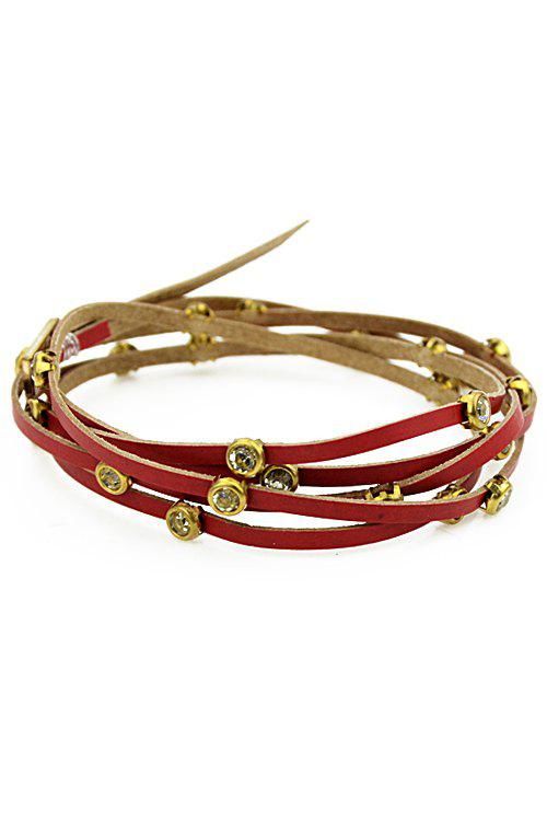 Faux Gem Decorated Layered Bracelet - RED
