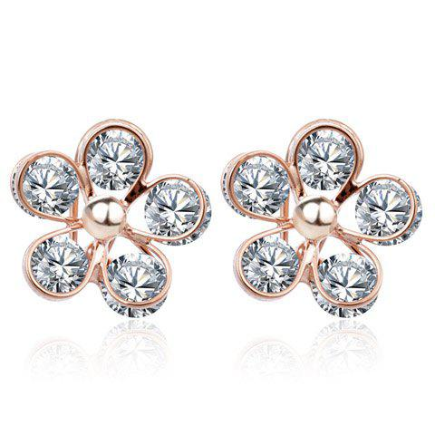 Pair of Delicate Chic Women's Rhinestone Flower Design Earrings - COLORMIX