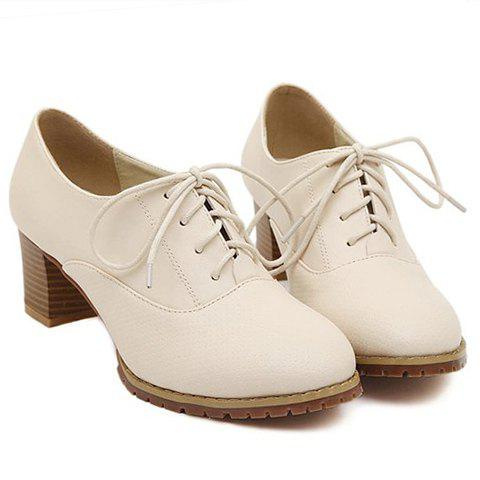 Simple Chunky Heel and Lace-Up Design Pumps For Women - APRICOT 38