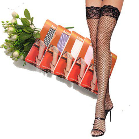 Pair of Fashionable Lace Embellished Fishnet Stockings For Women - COLOR ASSORTED