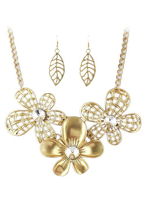 Golden Flower Necklace and A Pair of Earrings - GOLDEN