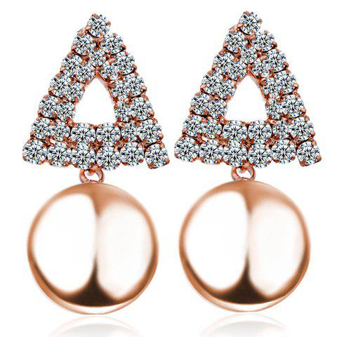 Pair of Delicate Chic Women's Rhinestone Openwork Triangle Design Earrings