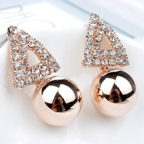 Pair of Delicate Chic Women's Rhinestone Openwork Triangle Design Earrings - AS THE PICTURE