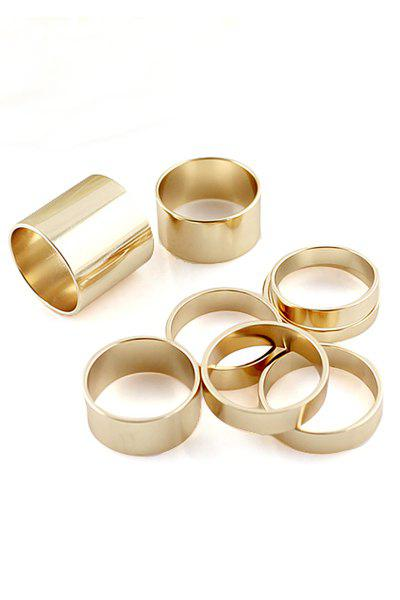 8PCS Solid Color Rings - GOLDEN ONE-SIZE