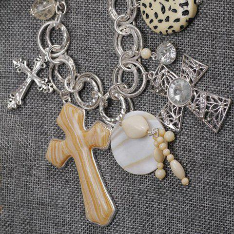 Delicate Gemstone Decorated Cross Shape Pendant Women's Sweater Chain Necklace - COLORMIX