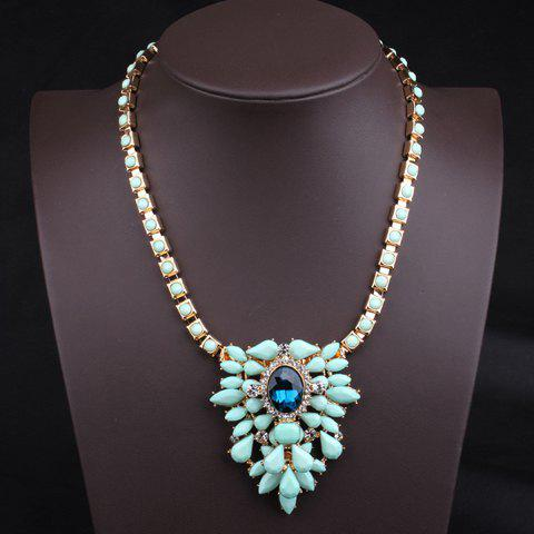 Stylish Chic Women's Ice Cream Color Beads Drop Design Necklace - BLUE