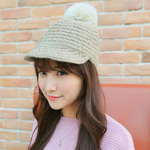 Chic Yarn Ball Decorated Striped Jacquard Women's Knitted Horseman Hat - LIGHT GRAY