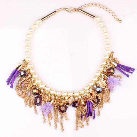 Delicate Tassel Decorated Women's Necklace - PURPLE